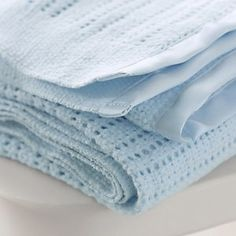 Satin-Edged Cellular Blanket - Blue from The White Company Cot Blankets, Knitted Blankets, Cashmere Baby Blanket, Cellular Blanket, Little White Company, Blue Blanket, Baby Warmer, Bedroom Accessories, Nursery Furniture