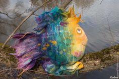 """Купить Подушка """"Волшебная Рыба"""" - рыба, подушка, подушка диванная, волшебная, радужная рыба"""