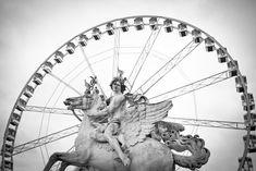 La roue de la place de la concorde - Paris en noir et blanc