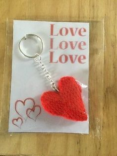 Love Heart Keyring/Bag Charm Heart Keyring, Love Heart, Hand Knitting, Charmed, Personalized Items, Bags, Handbags, Heart Of Love, Totes