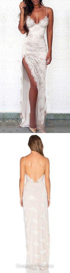 Sexy Sheath/Column V-neck Tulle Floor-length Split Front Backless Prom Dresses