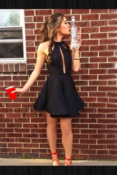 A-Line Party Dresses Black Party Dresses Homecoming Dresses 2018