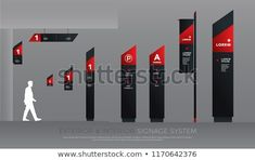 exterior and interior signage concept. direction, pole, wall mount and traffic signage system design template set. empty space for logo, text, black and red corporate identity Wayfinding Signage, Signage Design, Corporate Identity, Corporate Design, Red Architecture, Lykan Hypersport, Red Sign, Signages, Thing 1