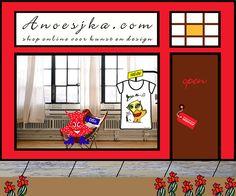 Etalage van de shop van Anoesjka. In de webshop vindt u veelal handgemaakte producten die in kleine oplages worden geproduceerd.