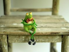 A Little Felt Green Frog With A Red TieNeedle by FeltArtByMariana, $54.00