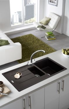 Beautiful Contrasting Worktop And Sink Composite Kitchen Sinks Composite Sinks Kitchen Sink Taps