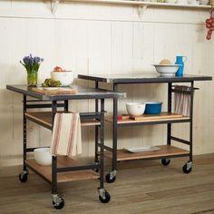 Bar Móvel ou Apoio de Cozinha - acabamento em ferro, madeira e mármore