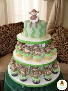 Baby Monkey Cupcakes and Cake
