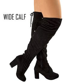 73495ec3fd2 Room Of Fashion RF Womens Thigh High Over The Knee Block Chunky Heel Pointy  Round Toe Boots BlackWide Calf 85 -- To view further for this item
