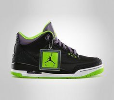 Air Jordan III-Black-Electric Green-Canyon Purple #sneakers #kicks