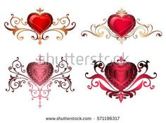 Ornamental borders with hearts. Romantic red hearts with floral ornaments golden lace borders and frames. Beautiful royal hearts decoration with patterns. Valentine's Day card