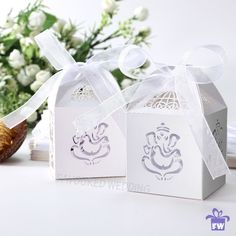 Laser Cut Wedding Sweets Love Bird Wedding Favor Candy Gifts Boxes White for sale