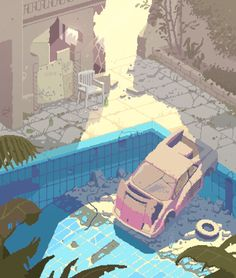 Abandoned swimming pool somewhere in the Middle East #pixelart