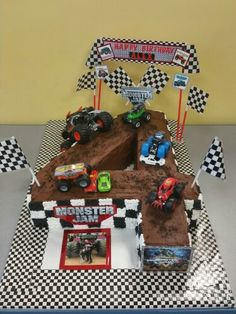 Monster Jam - Chocolate cake for Alex's Birthday Party By : Nelda's Cakes and Creations