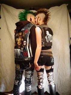 Punk Rock Love, bullet belt, punk vests, mohawks, the exploited, anarchy, kiss, holding hands
