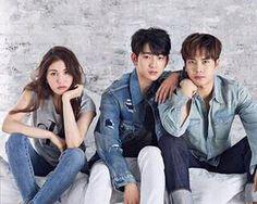 Jinyoung and Jackson and somi Korean Best Friends, Boy And Girl Best Friends, Ulzzang Couple, Ulzzang Girl, Yugyeom, Youngjae, Boy And Girl Friendship, Got7 Fanart, Xiuchen