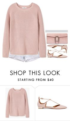 """-"" by emilypondng ❤ liked on Polyvore featuring Levi's, MANGO, Aquazzura and Gucci"