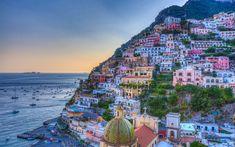Download wallpapers Positano, coast, sea, evening, Amalfi, Salerno, Campania, Italy