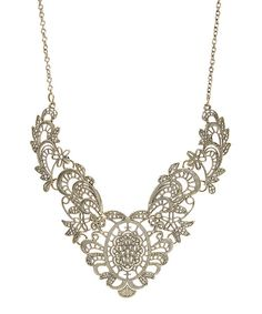 Look at this Goldtone Vintage Filigree Bib Necklace on #zulily today!
