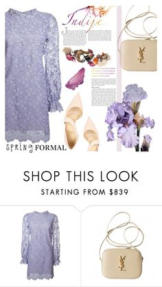 """""""Indije Pastel"""" by einn-enna ❤ liked on Polyvore featuring Giamba, Yves Saint Laurent, Christian Louboutin, springformal and spring2016"""