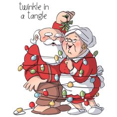 Art Impressions Twinkle in a Tangle Christmas Set - Unmounted Rubber Stamp. From Art Impressions, this set of unmounted stamps features Santa Claus and Mrs. Christmas Cartoons, Christmas Characters, Christmas Clipart, Christmas Printables, Black Christmas, Christmas Pictures, Christmas Art, Christmas Ornaments, Christmas Lights