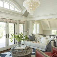 Sitting area in the loft overlooking the living room - Bywood Street, MN | Martha O'Hara Interiors