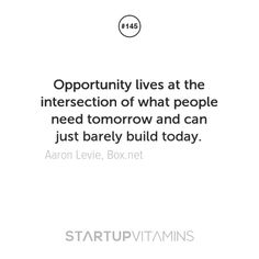 """Opportunity lives at the intersection of what people need tomorrow and can be just barely built today."" - Business Success Tip"