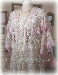 Antique Style Edwardian Downton Gatsby 20s Dress Romantic Ivory Lace