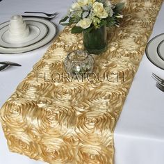 for Kings Table Satin Ribbon Rosette Wedding Table Runner Gold by floratouch, $15.00
