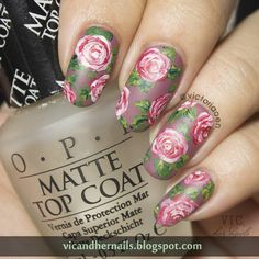 Vic and Her Nails: Digital Dozen Does Floral - Day 5: Vintage Roses