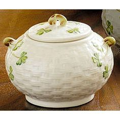 sugar bowl Honey Dispenser, Belleek China, Belleek Pottery, Sugar Container, Sugar Bowls, Vintage Dishes, Salt Pepper Shakers, Ireland, Irish
