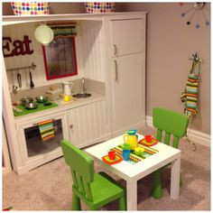 From C*K*J: a little kitchen for my littlemiss. The most perfect DIY kitchen ever.