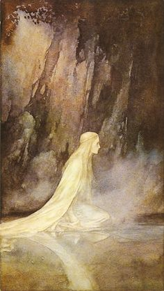 """Alan Lee, """"The Lady of the Lake"""" illustration for the book """"Faeries"""" (with Brian Froud). Reminds me of John Bauer. Alan Lee, John Bauer, Tolkien, Troll, Mists Of Avalon, Roi Arthur, Brian Froud, Mystique, Norman Rockwell"""