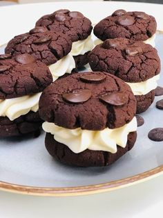 Brownies Cookies umpluți cu cremă de brânză – Chef Nicolaie Tomescu Brownie Cookies, Brownies, Muffin, Chocolate, Cooking, Breakfast, Desserts, Lasagna, Food