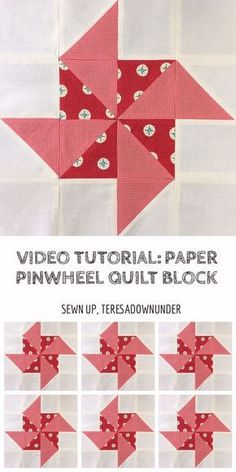 Quick and easy paper pinwheel quilt block video tutorial How to make a paper pinwheel quilt block Learn to make this block in 2 minutes: This block is made with half square triangles (HSTs) and squares. It's a beginner quilt block. Half Square Triangle Quilts Pattern, Pinwheel Quilt Pattern, Star Quilt Patterns, Pattern Blocks, Square Quilt, Half Square Triangles, Quilting For Beginners, Quilting Tips, Quilting Projects