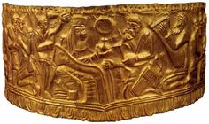Feminine gold headdress depicting the scene of the marriage of two gods - State Hist. Museum, Kiev