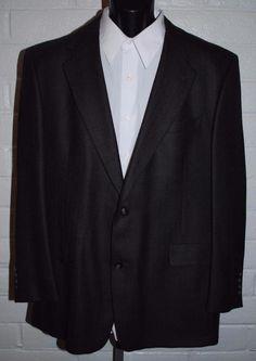 Hart Shaffner Marx Sport Coat 44  Reg Wool Notched Lapel 2 Button Single Vent #HartSchaffnerMarx #TwoButton