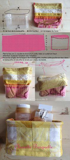 DIY Transformer des barquettes en plastique en panières pour toute une foule de chose. (http://www.tambouille.fr/tag/couture/)