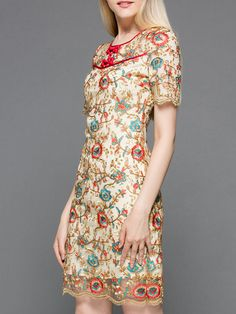 #AdoreWe #StyleWe Dresses - MULTIFLORA Multicolor Crew Neck Vintage Mini Dress - AdoreWe.net