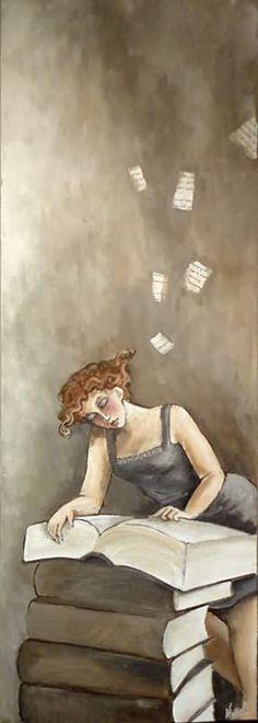 """Woman reading books {imagination!} """"D""""ebbie. Didierlaurent Véronique"""