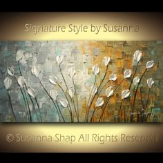 ORIGINAL Large Impasto Landscape Abstract Grey Tan White Tulips Oil Painting Modern Palette Knife Art by Susanna 48x24. $375.00, via Etsy.