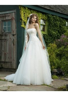 Wedding dress online shop - Organza Strapless Straight Neckline Delicate Applique Accents Lace up Bodice A-Line Wedding Dress with Draped Skirt SI-0034 http://www.weddingdressonlineshop.co.uk/