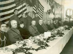 General John J. Pershing and President of the United States Woodrow Wilson (seated center) at a Christmas dinner with the Infantry Division and various French and American officers in Montigny, France in (Photo: U. Army Heritage and Education Center) American Presidents, Us Presidents, American History, World War One, First World, White House Christmas Tree, First Ladies, Holidays Around The World, Christmas Pictures