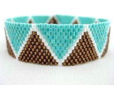 Like the colors: Beadwork Peyote Bracelet Brown White Turquoise by MadeByKatarina, $30.00