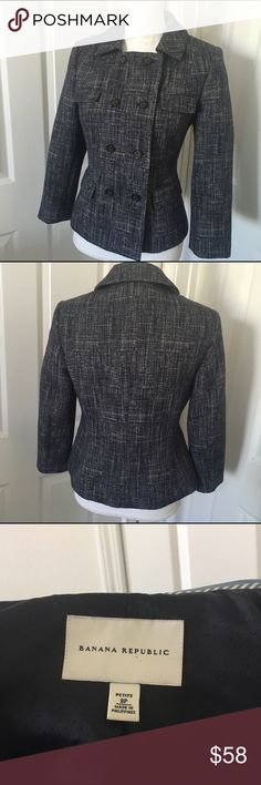 Banana Republic Double-breasted indigo blazer Banana republic indigo blazer, perfect condition, large button detailing. Extra button sewn onto inside label. Looks great with jeans! 😉 Banana Republic Jackets & Coats Blazers