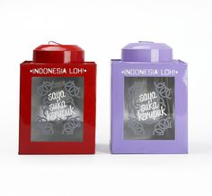 "Kaleng Kerupuk Merah dan Ungu by Indonesia Loh. A set of can for crackers consist of 2 can, one in red color and the other one in purple color. Features with picture of crackers and also with cool typography written ""Saya Suka Kerupuk"". Both of the can has size dimension; 15cm x 15cm x 22cm.  http://www.zocko.com/z/JKJxq"