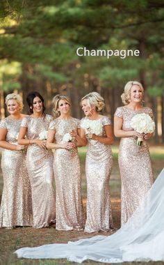 Champagne Sequined Boat Neck Long Mermaid Backless Bridesmaid Dress with Short Sleeves BD-UK1440