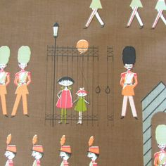 Vintage Soldier Fabric Waverly Royal Guard Marching Band