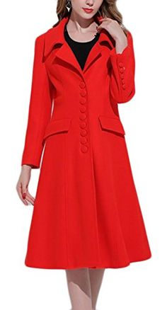GAGA Women's Elegant Single Breasted Lapel Solid Knee Length Swing Wool Blend Overcoat Red XS   #FreedomOfArt  Join us, SUBMIT your Arts and start your Arts Store   https://playthemove.com/SignUp
