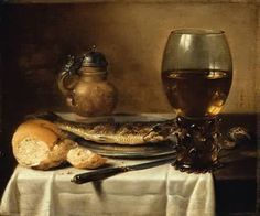 Pieter Claesz (Berchem 1597 – Haarlem Still Life with Stoneware Jug, Wine Glass, Herring and Bread by Pieter Claesz, 1642 Dutch Still Life, Still Life Art, Viking Food, Wine Glass, Glass Art, Food Painting, European Paintings, Painting Still Life, Museum Of Fine Arts